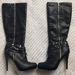 Aldo Size 9 Vitousova Black Knee High Buckle Boots